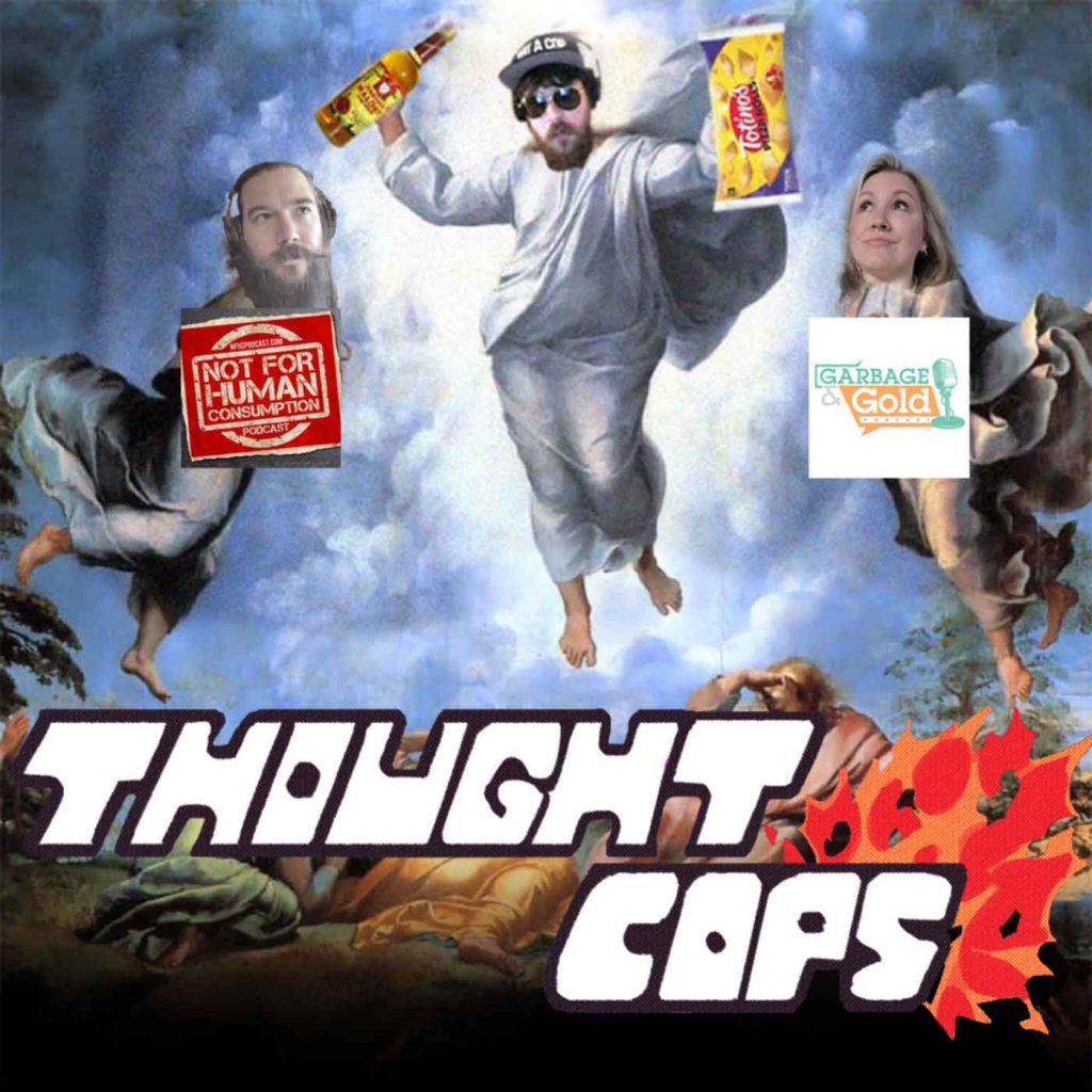 pizza roll eating malort drinking Officer Grant defeats Lisa and Allan in battle on episode 118 of Thought Cops